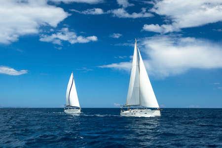 regatta: Boats in sailing regatta. Luxury yachts.