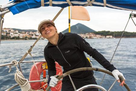 ellada: ZAKYNTHOS - PYLOS, GREECE - OCT 5, 2014: Unidentified sailors participate in sailing regatta 12th Ellada Autumn-2014 on Aegean Sea. Editorial