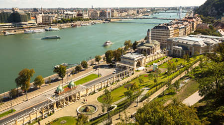 establishing: BUDAPEST, HUNGARY - CIRCA SEP, 2015: The Danube Promenade. Pest panorama of the Danube - UNESCO world heritage site. Editorial