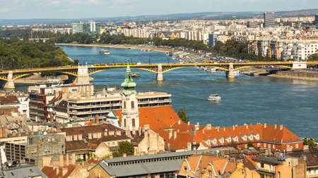 establishing: BUDAPEST, HUNGARY - CIRCA SEP, 2015: View on the Buda side of the historic centre of Budapest. Pest panorama of the Danube - UNESCO world heritage site. Editorial