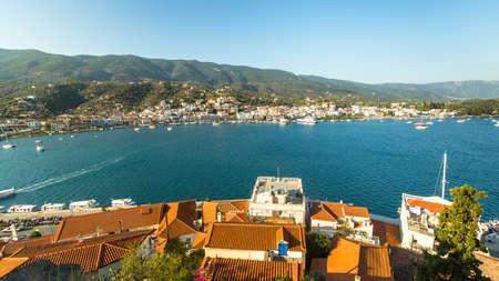poros: Panorama of Poros island, Greece. Stock Photo