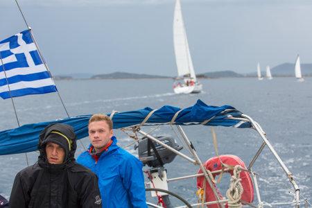 ellada: PYLOS, GREECE - CIRCA OCT, 2014: Sailors participate in sailing regatta 12th Ellada Autumn 2014 among Greek island group in the Aegean Sea, in Cyclades and Argo-Saronic Gulf.