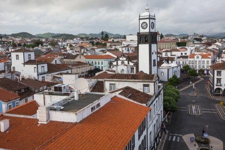 revised: PONTA DELGADA, AZORESPORTUGAL - CIRCA JUN, 2015: Top view of center of Ponta Delgada. City is located on Sao Miguel Island (233 km2) Region capital under the revised constitution of 1976. Editorial