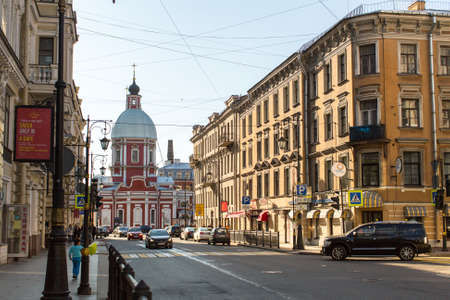 pestel: St.PETERSBURG, RUSSIA - CIRCA SEP, 2015: View of the Pestel street in center of SPb. Current name since 1925 (from 1777 was called Panteleymonovskaya street).