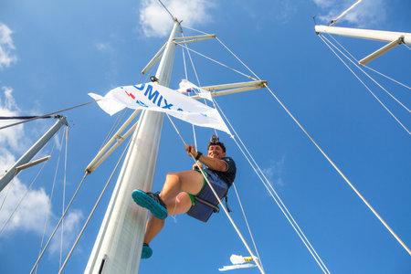 ellada: HYDRA, GREECE - CIRCA OCT, 2014: Sailors participate in sailing regatta 12th Ellada Autumn 2014 among Greek island group in the Aegean Sea, in Cyclades and Argo-Saronic Gulf.