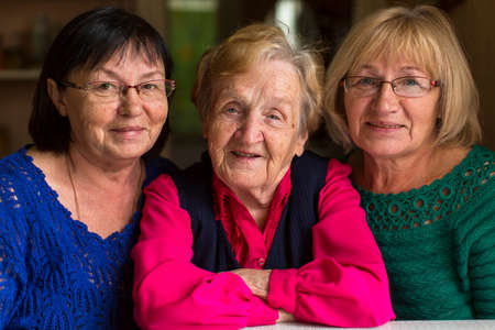 grown: An old woman with grown daughters.