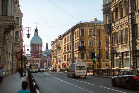 pestel: St.PETERSBURG, RUSSIA - SEP 10, 2015: View of the Pestel street in center of SPb. Current name since 1925 (from 1777 was called Panteleymonovskaya street) Editorial