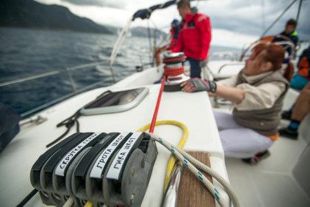 ellada: MONEMVASIA, GREECE - CIRCA MAY, 2014: Sailors participate in sailing regatta 11th Ellada 2014 Spring among Greek island group in the Aegean Sea, in Cyclades and Argo-Saronic Gulf.