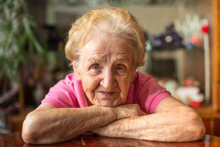 Closeup portrait of an elderly woman. Foto de archivo