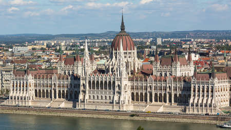 establishing: BUDAPEST, HUNGARY - CIRCA SEP, 2015: View of Hungarian Parliament Building on the bank of the Danube in Budapest. Pest panorama of the Danube - UNESCO world heritage site. Editorial