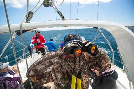 ellada: ANDROS - SYROS, GREECE - CIRCA MAY, 2014: Sailors participate in sailing regatta 11th Ellada 2014 among Greek island group in the Aegean Sea, in Cyclades and Argo-Saronic Gulf.