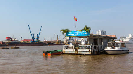 network port: HO CHI MINH, VIETNAM - JAN 11, 2016: Views of the Saigon Port. Saigon Port is a network of ports in Ho Chi Minh City. By 2013, it has become the 24th busiest container port in the world. Editorial