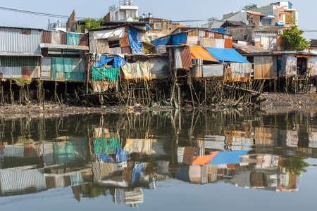 The landscape of Saigon: Khu ổ chuột ở thành phố Hồ Chí Minh. Việt Nam.