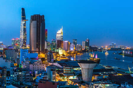 Top view of Ho Chi Minh City at night time, Vietnam. 写真素材