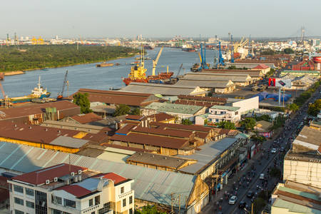 8 12: HO CHI MINH CITY, VIETNAM - JAN 12, 2016: Top view of Ho Chi Minh City. Ho Chi Minh, former Saigon, is located in the South of Vietnam, is the countrys largest city, population 8 million.