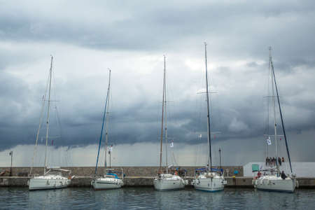 ellada: MONEMVASIA, GREECE - CIRCA MAY, 2014: Boats participate in sailing regatta 11th Ellada 2014 Spring among Greek island group in the Aegean Sea, in Cyclades and Argo-Saronic Gulf. Editorial