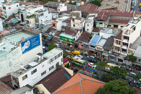 indochina: HO CHI MINH, VIETNAM - JAN 12, 2016: Top view of Ho Chi Minh City. From 1887 to 1901 - the capital of French Indochina, from 1955 to 1975 the capital of South Vietnam (Saigon). Editorial