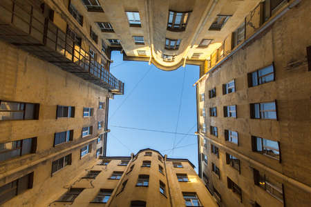 draw well: A typical courtyard in the old district of St. Petersburg, views from the bottom up.