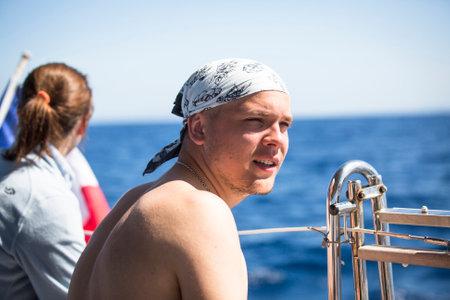 ellada: SYROS-KYTHNOS, GREECE - CIRCA MAY, 2014: Sailors participate in sailing regatta 11th Ellada 2014 among Greek island group in the Aegean Sea, in Cyclades and Argo-Saronic Gulf. Editorial
