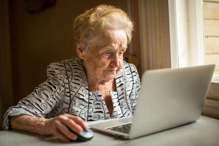 Elderly woman working on laptop at home sitting at the table. Banque d'images
