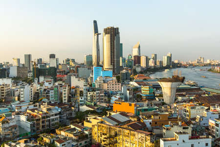 Top view of Ho Chi Minh City, Vietnam. Standard-Bild