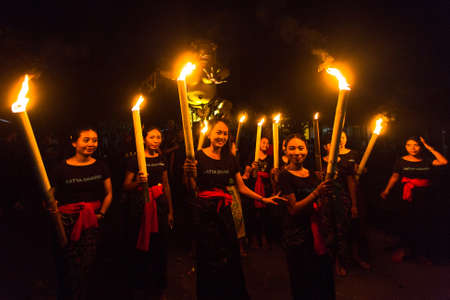 silence: UBUD, BALI - MAR 8, 2016: Unidentified people during the celebration before Nyepi - Balinese Day of Silence. Day Nyepi is also celebrated as New Year - according Balinese calendar now came 1938 year.
