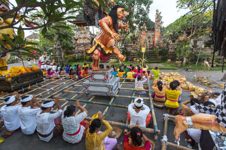 silence: UBUD, BALI - MAR 8, 2016: Unidentified people during the celebration of Nyepi - Balinese Day of Silence. Day Nyepi is also celebrated as New Year - according Balinese calendar now came 1938 year.