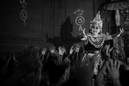 kecak: UBUD, BALI  INDONESIA - FEB 27, 2016: Unidentified dancers performing traditional balinese Kecak Trance Fire Dance. Kecak (also known as Ramayana Monkey Chant) is very popular cultural show on Bali. Editorial