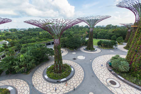 hectares: SINGAPORE - FEB 19, 2016: View of Gardens by the Bay. Gardens by the Bay is a nature park spanning 101 hectares (250 acres) of reclaimed land in central Singapore, adjacent to the Marina Reservoir. Editorial