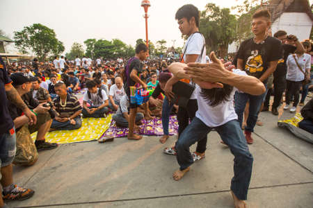 yantra: WAT BANG PHRA, THAILAND - MAR 19, 2016: Unknown participants of Master Day Ceremony at able Khong Khuen - spirit possession during the Wai Kroo ritual at Bang Pra monastery, about 50 km west of Bangkok. Editorial