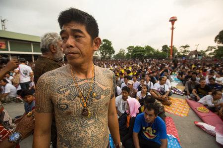 WAT BANG PHRA, THAILAND - MART 19, 2016: Unidentified participants Wai Kroo (Luang Por Phern) Master Day Ceremony at Wat Bang Phra monastery, about 50 km of Bangkok.