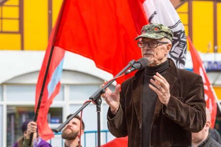 nationalist: MOSCOW, RUSSIA - MAY 1, 2016: Eduard Limonov, russian nationalist writer and political dissident, founder and former leader of the banned National Bolshevik Party, in rally marking the May Day.