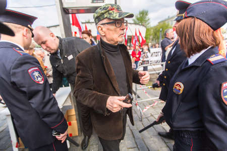 dissident: MOSCOW - MAY 1, 2016: Eduard Limonov, russian nationalist writer and political dissident, founder and former leader of the banned National Bolshevik Party, in rally marking the May Day.