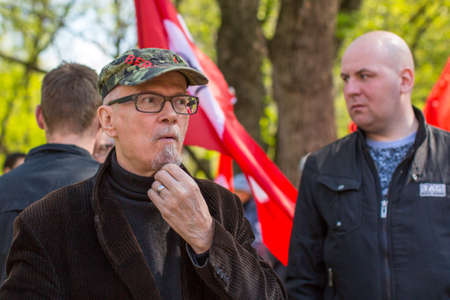 nationalist: MOSCOW - MAY 1, 2016: Eduard Limonov, russian nationalist writer and political dissident, founder and former leader of the banned National Bolshevik Party, in rally marking the May Day.