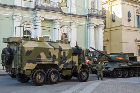 deployed: St.PETERSBURG, RUSSIA - MAY 8, 2016: Military equipment deployed near Palace Square in preparation for the military parade on May 9. Editorial