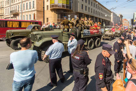 immortal: St.PETERSBURG, RUSSIA - MAY 9, 2016: March of Immortal Regiment, timed to 71st anniversary of the Victory in the great Patriotic war. Action in its present form was initiated in Tyumen in May 2007.