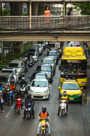 congested: BANGKOK, THAILAND - MAR 30, 2016: Transport traffic in city centre. Annually an estimated 150,000 new cars join the heavily congested roads of Bangkok. Editorial