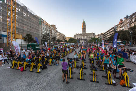 imply: PORTO, PORTUGAL - JUL 9, 2016: Participants Porto Are In Good Form. This program takes sport to the street, providing sports animation. Participation is free of charge and does not imply enrollment. Editorial
