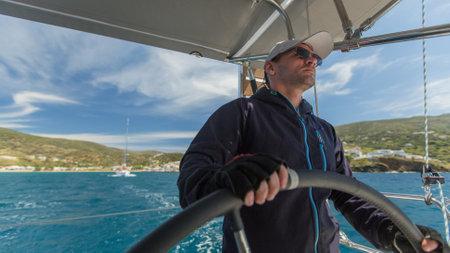 ellada: ANDROS, GREECE - APRIL 29, 2014: Unidentified sailors participate in sailing regatta 11th Ellada among Greek island group in the Aegean Sea, in Cyclades and Argo-Saronic Gulf.