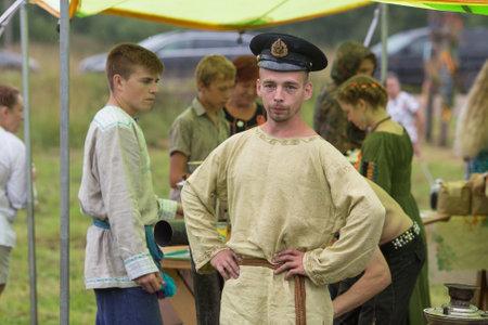 folk culture: GRISHINO, RUSSIA - JUL 30, 2016: Unidentified participants of the Festival of folk culture Russian Tea. Festival held annually in Grishino ecovillage since 2012.