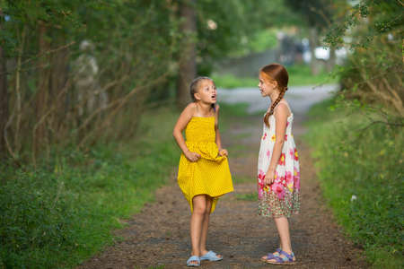 cute girlfriends: Two little cute girlfriends animatedly talking in the Park.