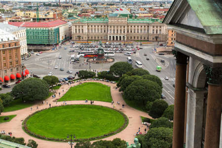 sobor: St.PETERSBURG, RUSSIA - AUG 19, 2016: Top view from the colonnade of St.Isaacs Cathedral. Is the largest Russian Orthodox cathedral (sobor) in the city, took 40 years to construct, from 1818 to 1858.