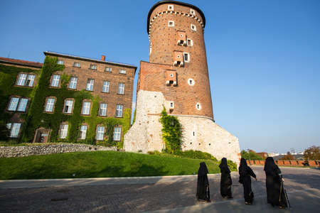 culturally: KRAKOW, POLAND - SEP 7, 2016: On-site Wawel Royal Castle, residency built at the behest of King Casimir III the Great, reigned 1333-1370. The most historically and culturally important site in Poland.