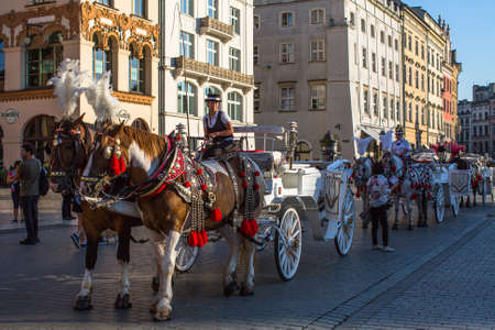 hackney carriage: KRAKOW, POLAND - SEP 8, 2016: Old-styled carriage for tourists in the streets of Old Krakow. Krakow is visited by over 8 million tourists a year, number of foreign tourists up to 2 million people.