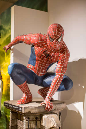 Polonia: KRAKOW, POLAND - SEP 9, 2016: Spider-Man wax figure of Polonia Wax Museum at Main Market Square. The Wax Museum was opened in 2016, inspired by the organization in Krakow World Youth Day.