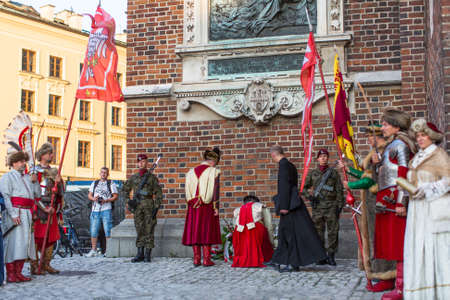sobieski: KRAKOW, POLAND - FEB 10, 2016: Unidentified participants of ceremony is the vow of first classes of the Jan III Sobieski High School (founded in 1883) at the Main Market Square near St.Mary Cathedral.