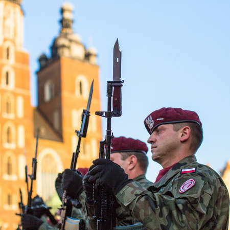 sobieski: KRAKOW, POLAND - FEB 10, 2016: Polish soldiers on guard of the ceremony is the vow of first classes of the Jan III Sobieski High School (founded 1883) at the Main Market Square near St.Mary Cathedral.