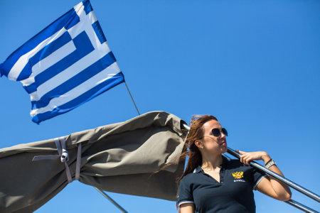 ellada: ERMIONI, GREECE - SEP 28, 2016: Russian sailors participate in sailing regatta 16th Ellada Autumn 2016 among Greek island group in the Aegean Sea, in Cyclades and Saronic Gulf. Editorial