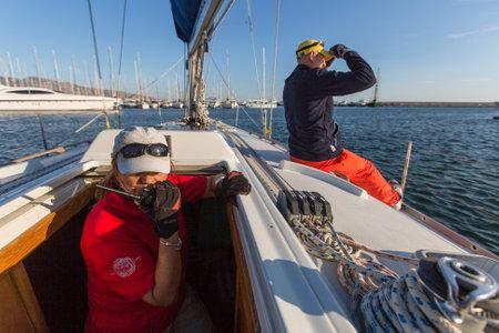 ellada: ATHENS, GREECE - SEP 24, 2016: Sailors participate in sailing regatta 16th Ellada Autumn 2016 among Greek island group in the Aegean Sea, in Cyclades and Saronic Gulf.