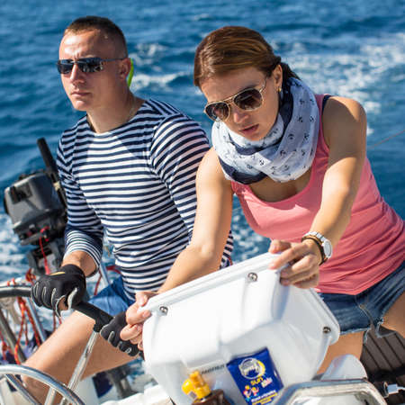 ellada: ERMIONI, GREECE - SEP 28, 2016: Sailors participate in sailing regatta 16th Ellada Autumn 2016 among Greek island group in the Aegean Sea, in Cyclades and Saronic Gulf.
